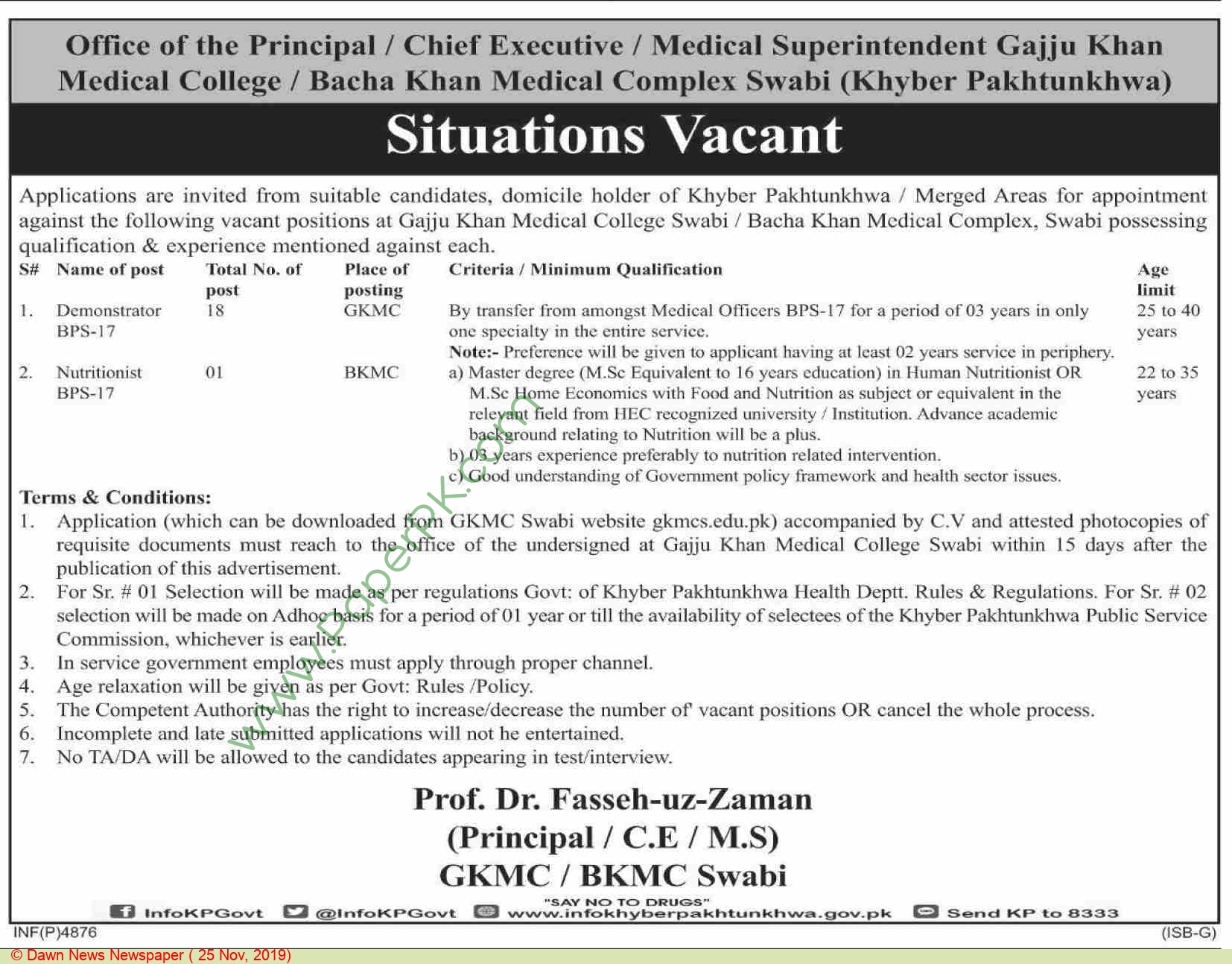 Gajju Khan Medical College Swabi Jobs For Demonstrator, Nutritionist