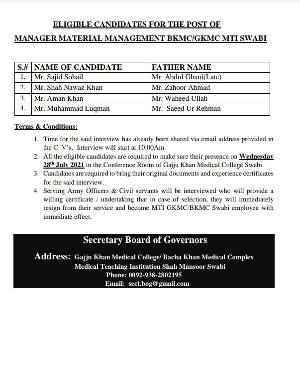 ELIGIBLE CANDIDATES FOR THE POST OF MANAGER MATERIAL MANAGEMENT BKMC/GKMC MTI-SWABI